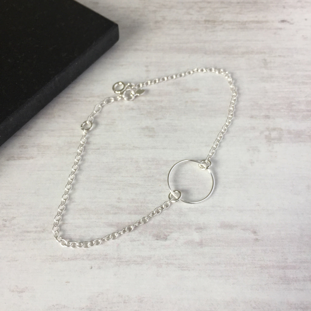 Silver Circle Anklet - KookyTwo