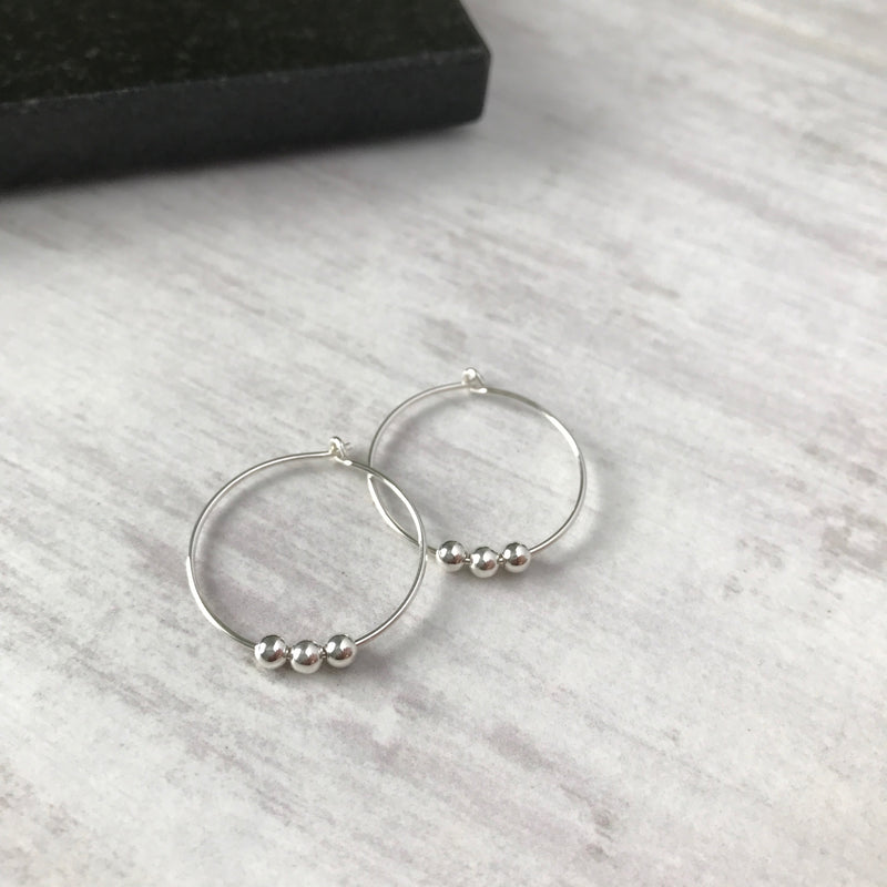 Silver Three Bead Hoop Earrings - KookyTwo