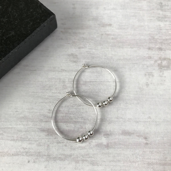 Silver Three Bead Hoop Earrings