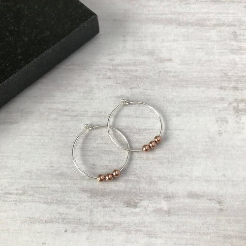 Silver Hoop Earrings with Rose Gold Beads - KookyTwo