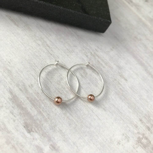 Silver Hoop Earrings with Rose Gold Bead - KookyTwo