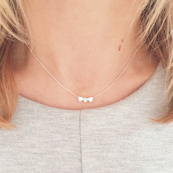 Silver Trio Tiny Heart Necklace