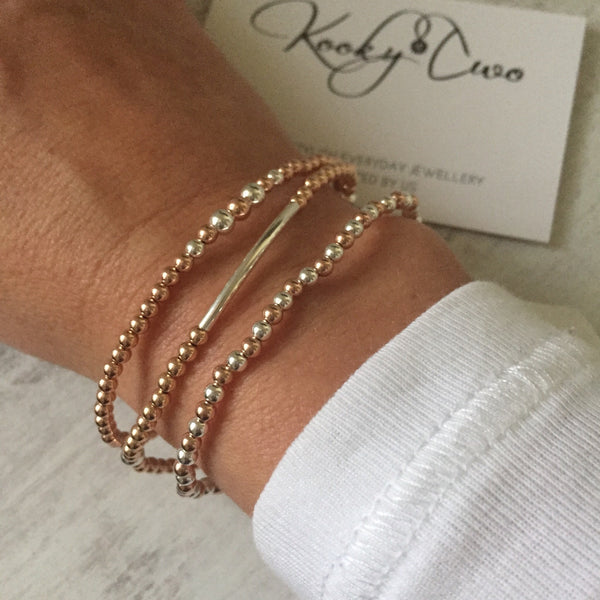 Rose Gold & Silver Bead Stretch Bracelet