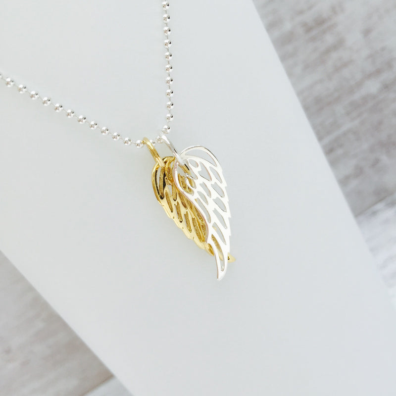 Double Silver and Gold Angel Wing Necklace - KookyTwo