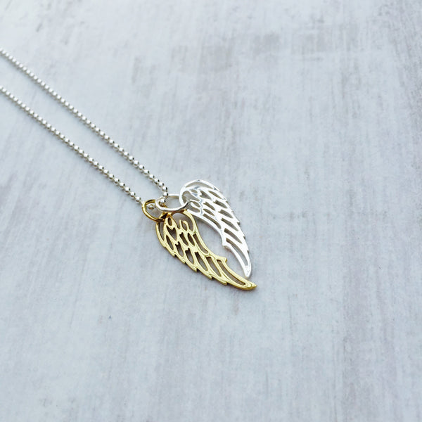 Duo Silver & Gold Angel Wing Necklace