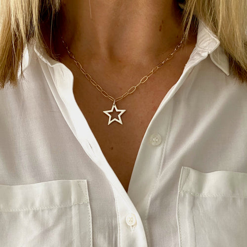 Gold Chain and Silver Star Necklace