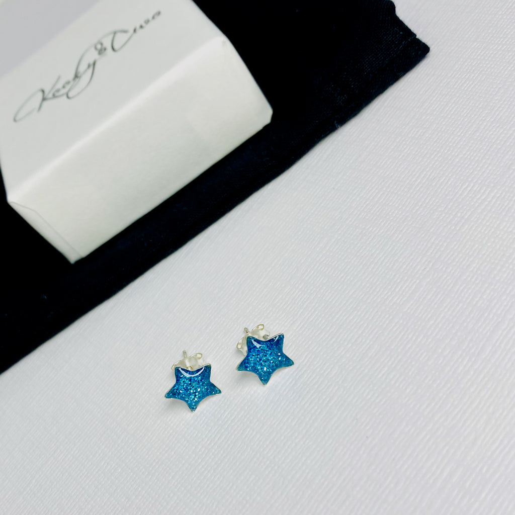 Blue Glitter Star Earrings
