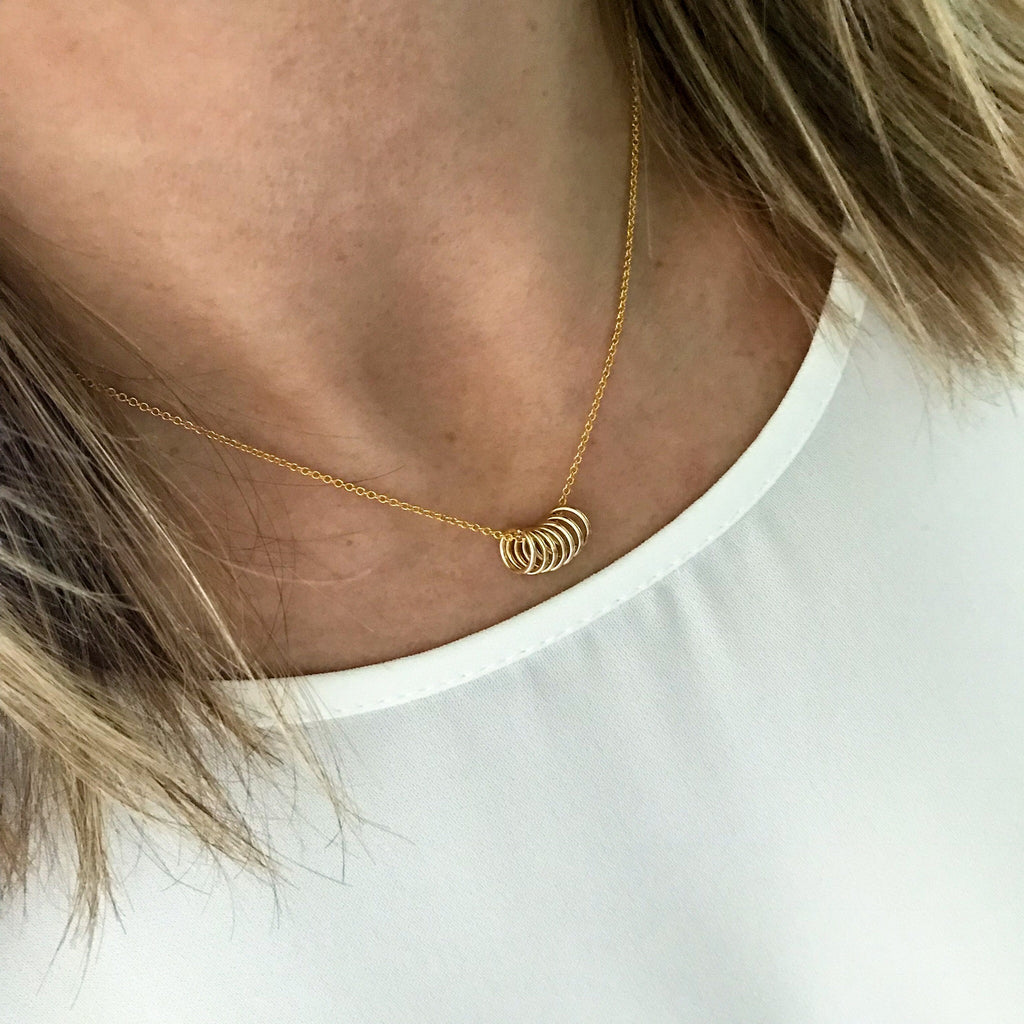 Seven Gold Rings Necklace - KookyTwo