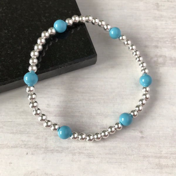 Silver Bead and Swarovski Turquoise Blue Pearl Bracelet