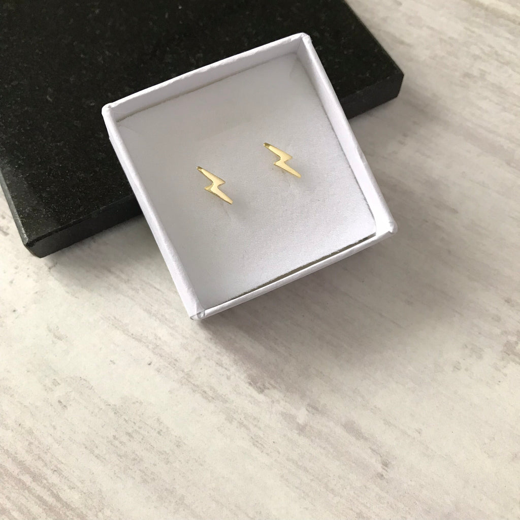 Gold Lightning Bolt Stud Earrings - KookyTwo