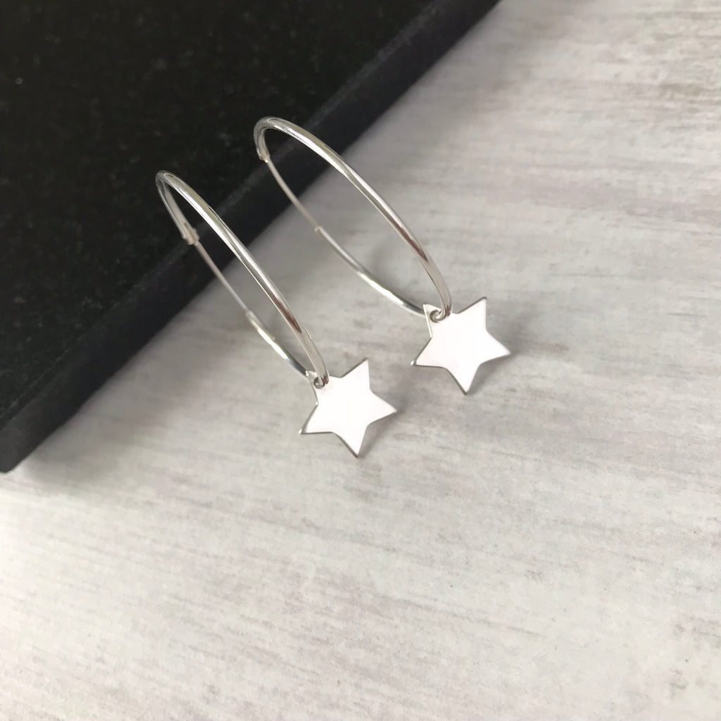 Silver Star Hoop Earrings - KookyTwo