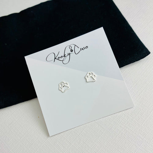 Silver Paw Print Stud Earrings