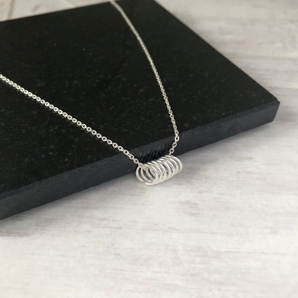 Silver 7 Rings Necklace