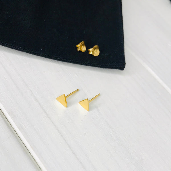 Gold Triangle Stud Earrings - KookyTwo