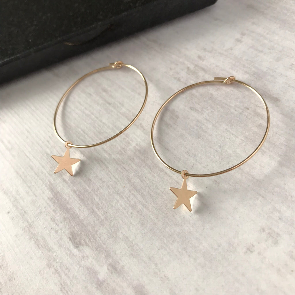 Gold Star Hoop Earrings - KookyTwo
