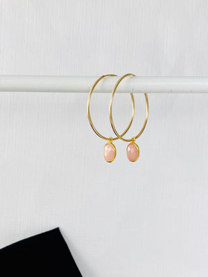 Gold Pink Opal Hoop Earrings - KookyTwo