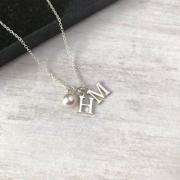 Silver Double Initial Charm Necklace with Swarovski Pearl
