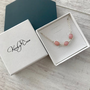 Silver Pink Opal Necklace - KookyTwo