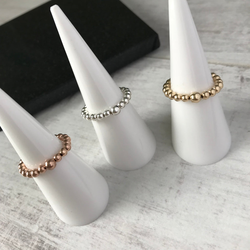 Shiny Bead Stretch Ring - KookyTwo