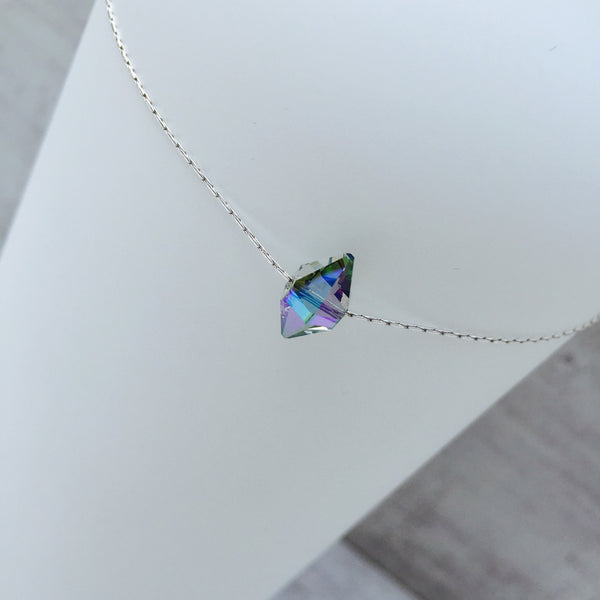 Silver Necklace with Blue Swarovski Crystal - KookyTwo