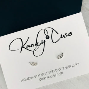 Silver Angel Wing Stud Earrings - KookyTwo