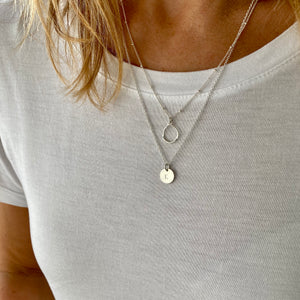 Silver Initial Disc Circle Necklace Set