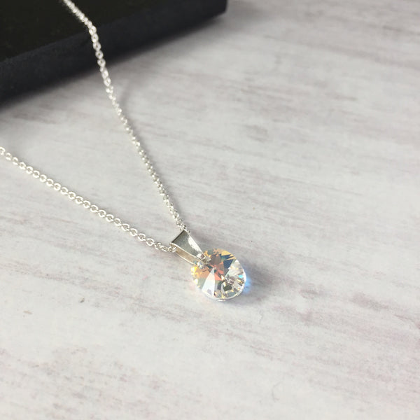 Silver Crystal Sparkle Oval Pendant Necklace with Swarovski Crystal