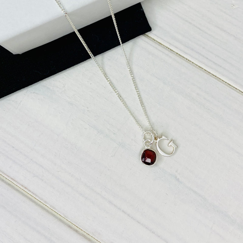 Silver Initial and Birthstone Necklace