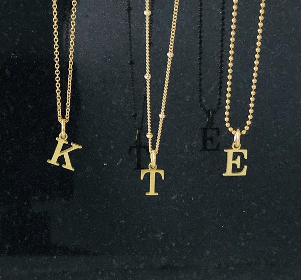 Gold Initial Necklace - KookyTwo