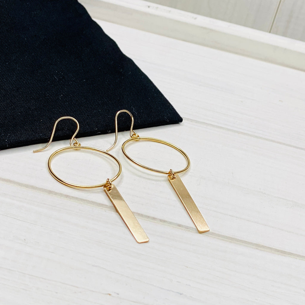 Gold Circle Bar Earrings - KookyTwo