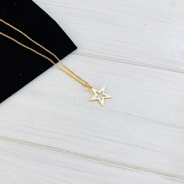 Gold Open Star Necklace - KookyTwo