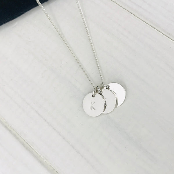 Silver Three Initial Personalised Disc Necklace - KookyTwo
