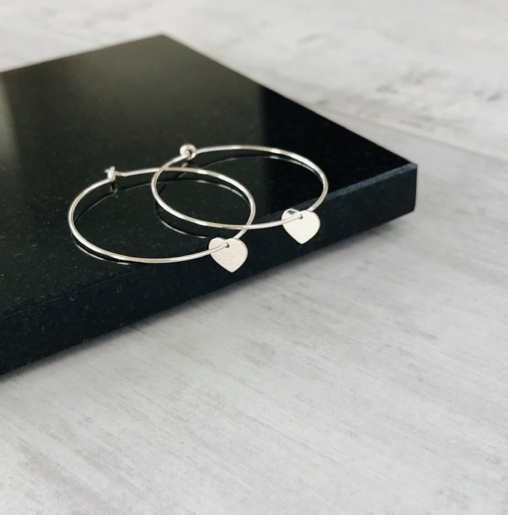 Silver Heart Hoop Earrings - KookyTwo