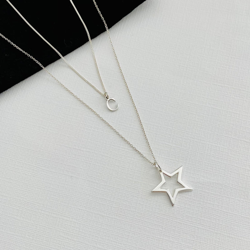 """The Claire"" Silver Initial & Star Necklace Set"