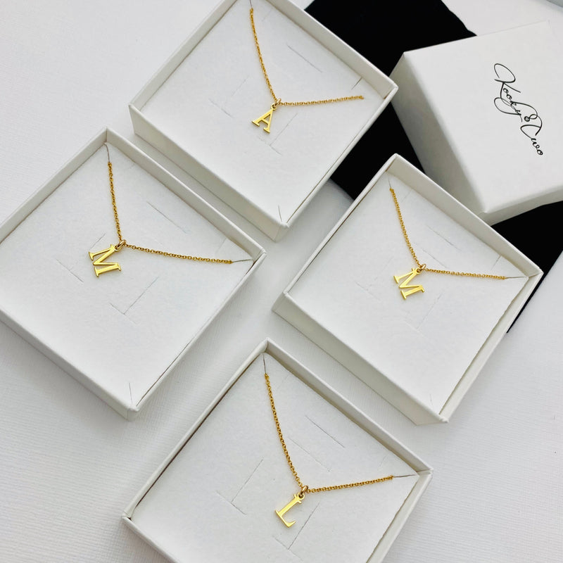 Gold Initial Necklace Set