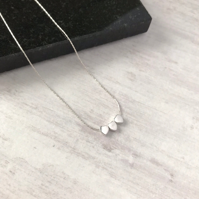 Silver Three Heart Necklace - KookyTwo