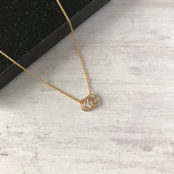 Gold Three Rings Necklace - KookyTwo