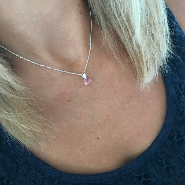Silver Necklace with Pink Triangle Swarovski Crystal