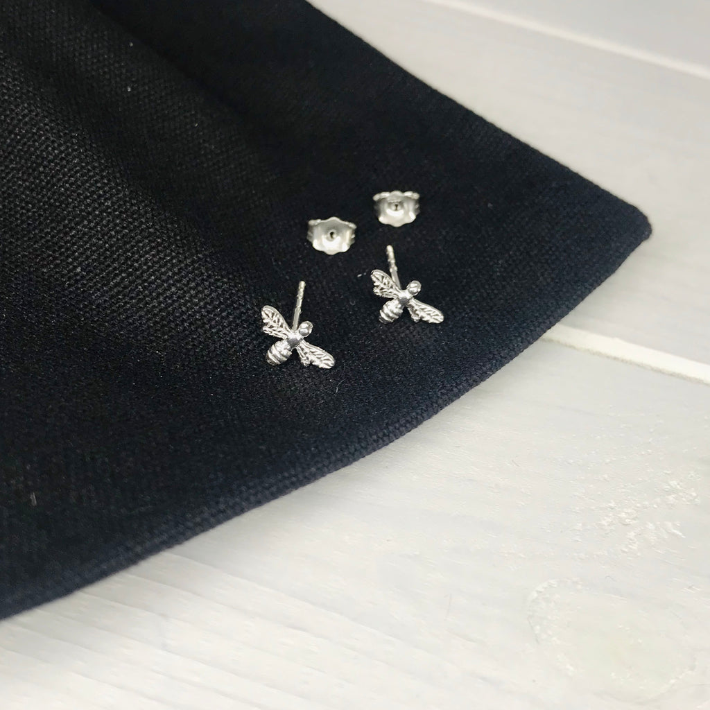 Silver Bee Stud Earrings - KookyTwo