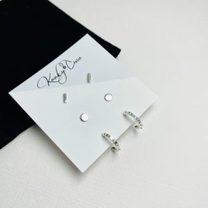 Silver Triple Earring Set | Bar, Dot & Spike Half Hoops