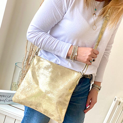 Metallic Leather Crossbody Bag in Gold - KookyTwo