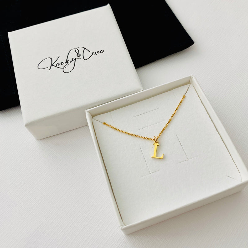Gold Initial Necklace | One, Two or Three Letters - KookyTwo