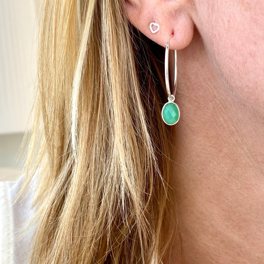 Silver Chrysoprase Hoop Earrings - KookyTwo