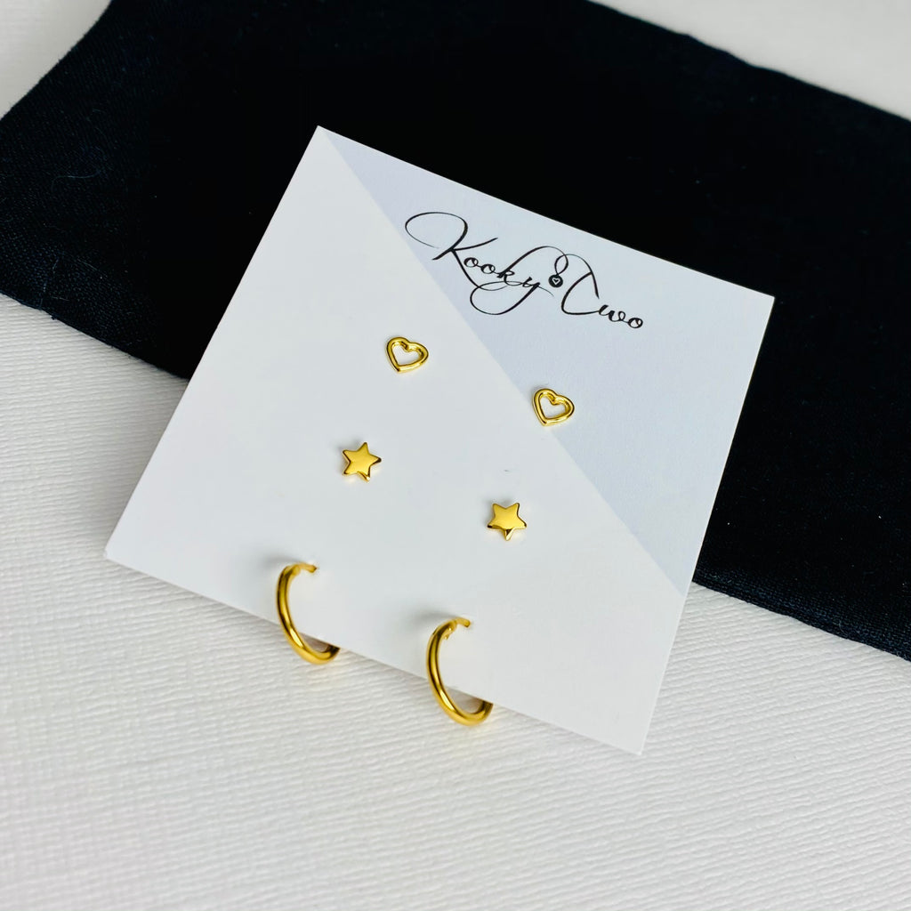 Gold Trio Earring Set | Hearts, Stars & Mini Hoops