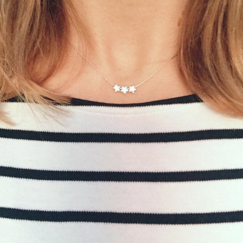 Silver Three Star Necklace - KookyTwo