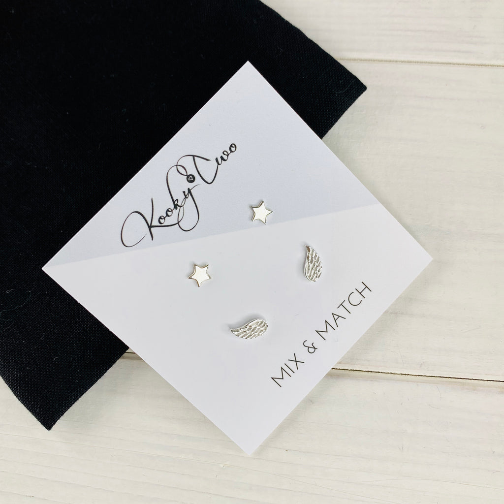 Silver Star & Angel Wing Earring Set - KookyTwo
