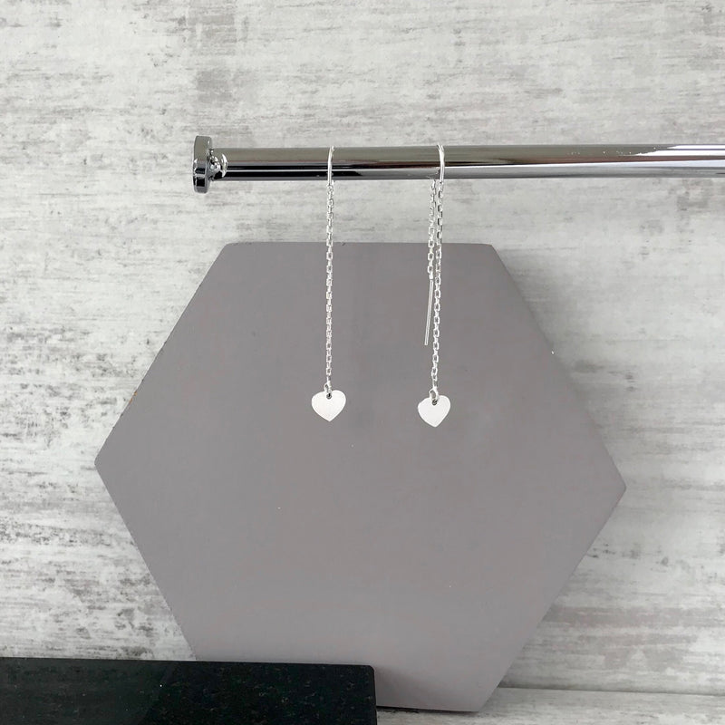 Silver Heart Threader Earrings - KookyTwo