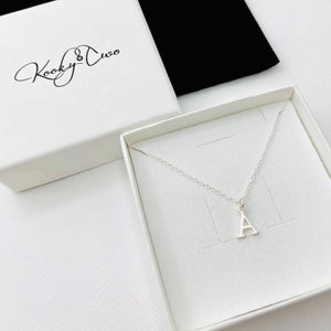 Silver Initial Necklace - KookyTwo
