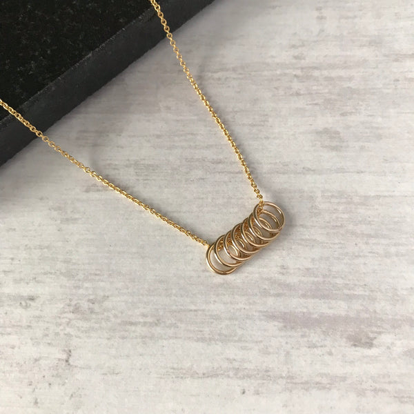 Gold Seven Rings Necklace