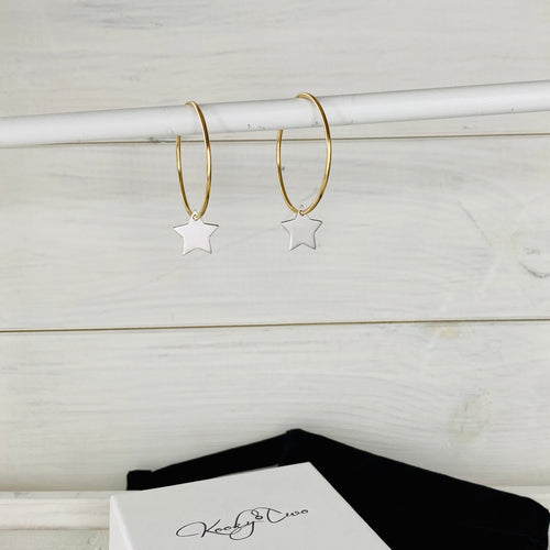 Gold & Silver Star Hoop Earrings - KookyTwo